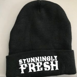 """Beanie w/  embroidered words """"Stunningly Fresh"""""""